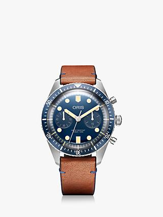 Oris 01 771 7744 4095 Men's Divers Sixty-Five Bucherer Blue Edition Automatic Chronograph Leather Strap Watch, Tan/Navy