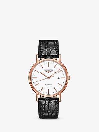 58fc00f5c Longines L49211122 Men's Presence Automatic Date Leather Strap Watch, Black /White