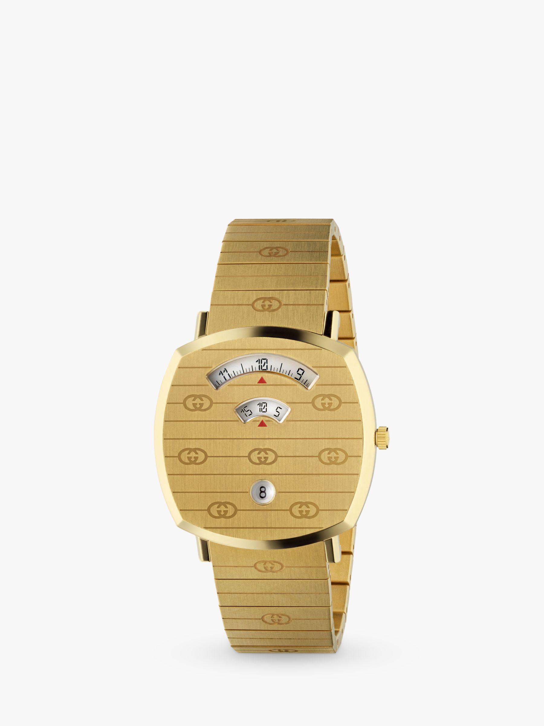 Gucci Gucci YA157409 Unisex Grip Date Bracelet Strap Watch, Gold