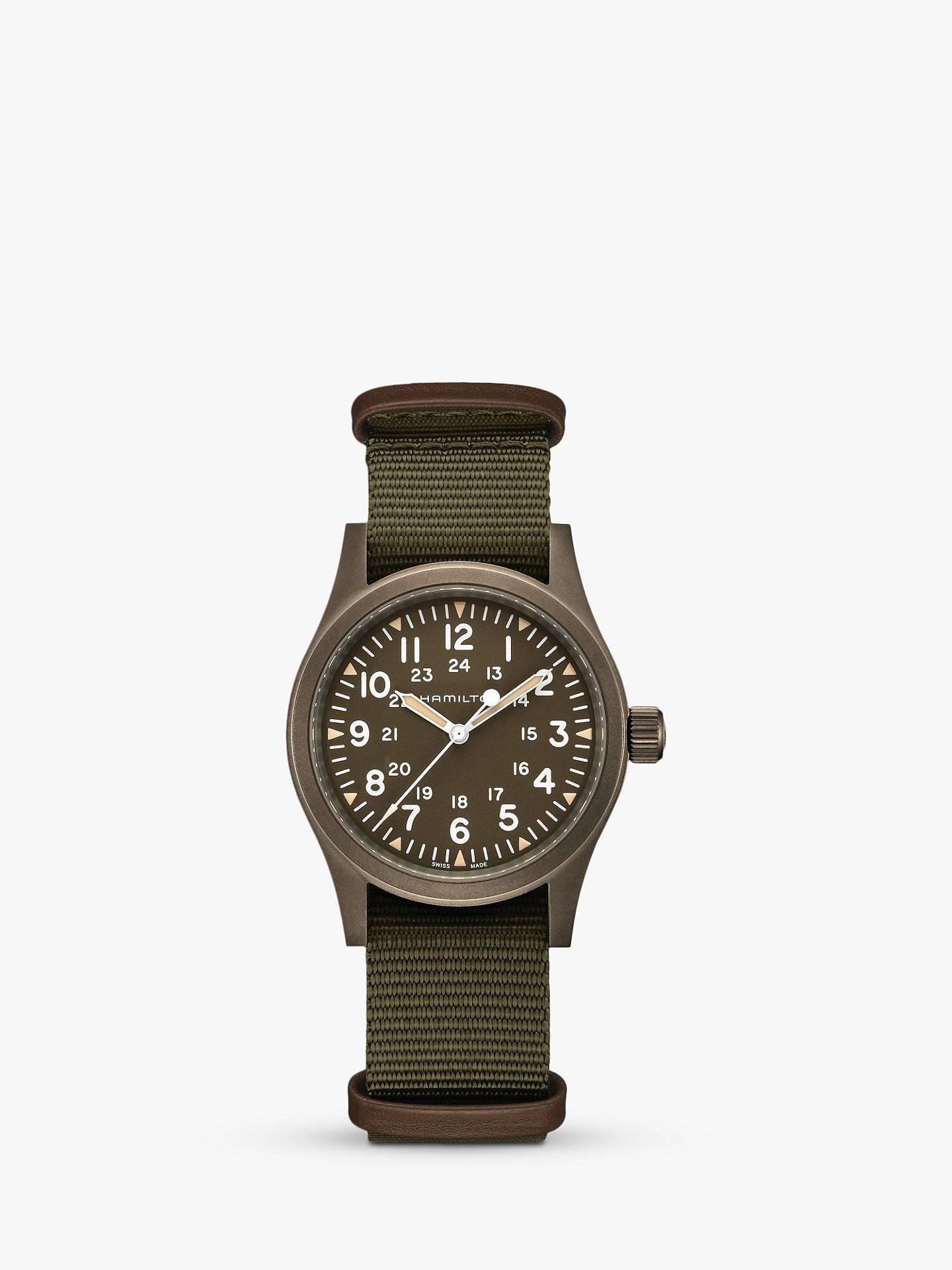 Hamilton H69449961 Men S Khaki Field Mechanical Nato Fabric Strap