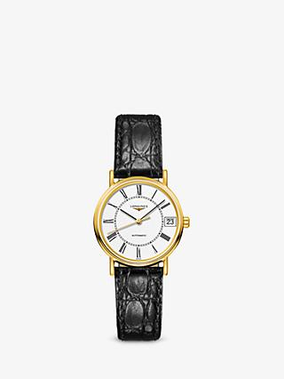 ad168915d300 Longines L43222112 Women s Presence Automatic Date Leather Strap Watch