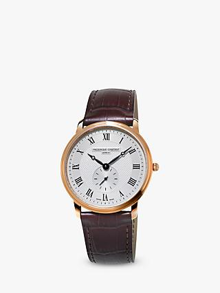 Frederique Constant FC-235M4S4 Men's Slimline Leather Strap Watch, Brown/White