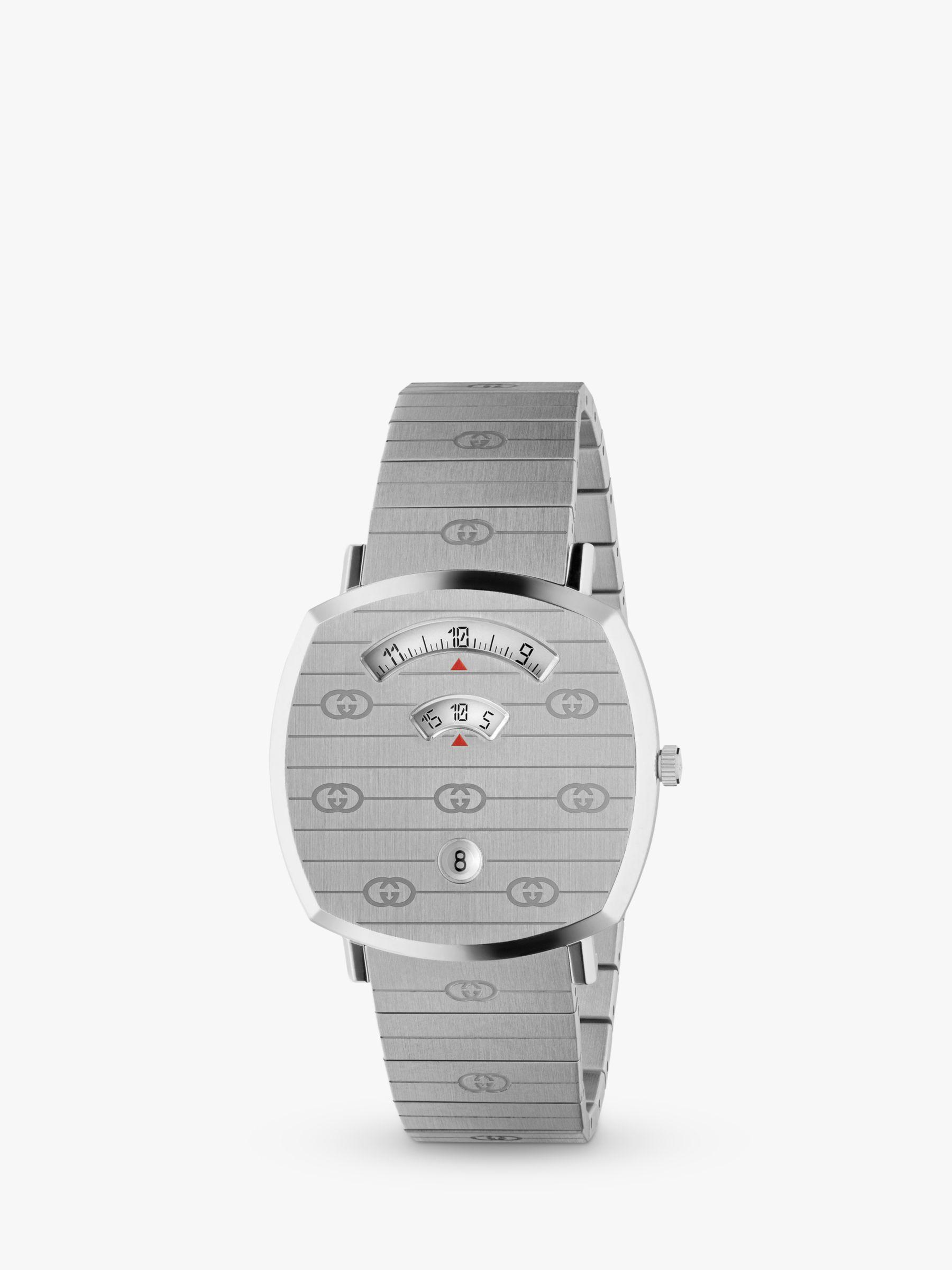 Gucci Gucci YA157410 Unisex Grip Date Bracelet Strap Watch, Silver