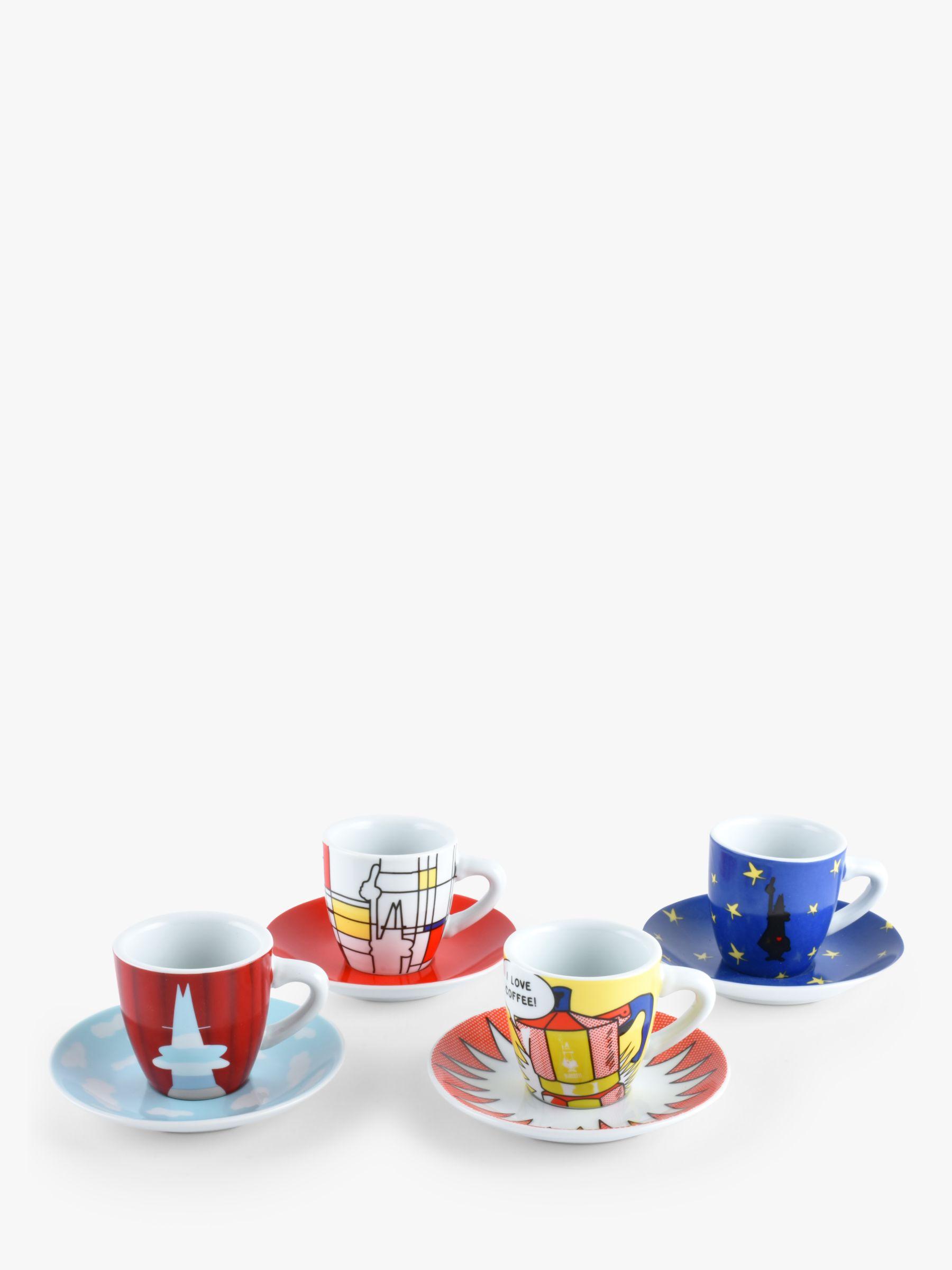 Bialetti Bialetti Art Espresso Coffee Cup & Saucer, Set of 4, 40ml, Assorted