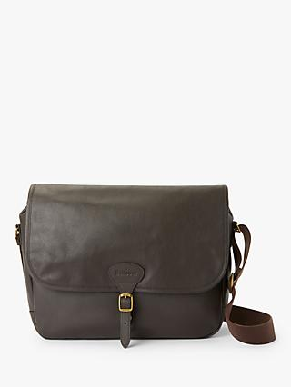 Barbour Holford Leather Messenger, Dark Brown