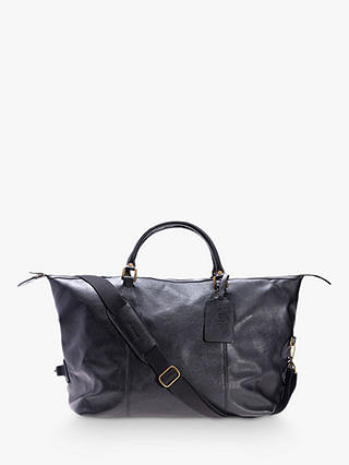 Buy Barbour Leather Explorer Holdall, Black Online at johnlewis.com