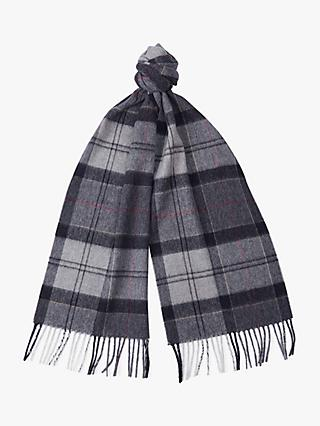 Barbour Merino Wool Cashmere Tartan Check Scarf, Grey