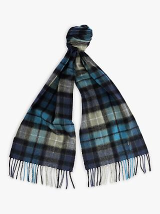 Barbour Lambswool Cashmere Check Scarf, Blue