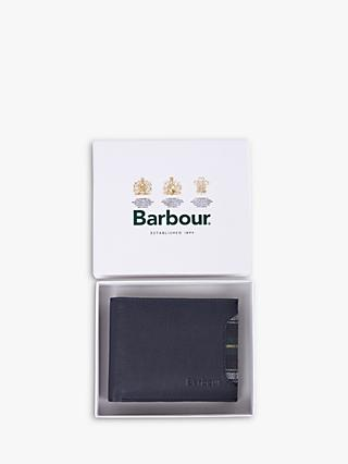 Barbour 125 Year Leather 2 in 1 Wallet, Navy
