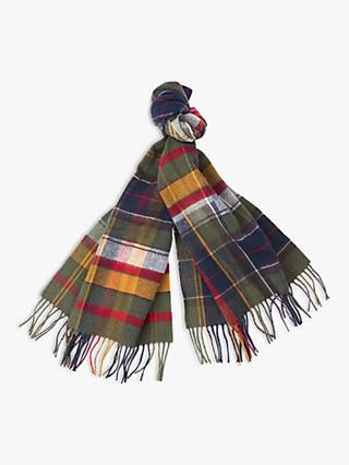 Barbour Lambswool Tartan Scarf, Green/Multi