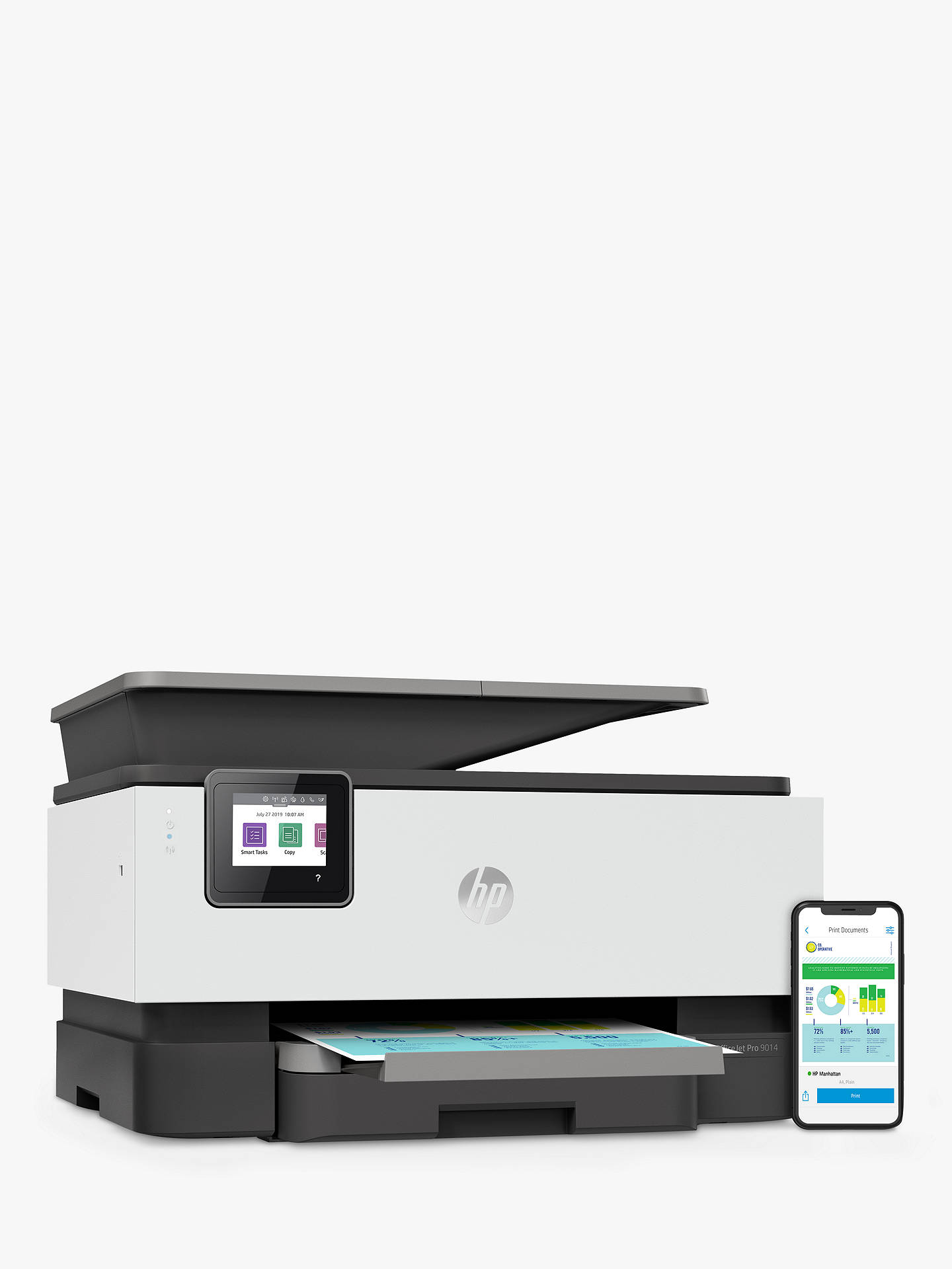 Buy HP OfficeJet Pro 9014 All-in-One Wireless Printer & Fax Machine with Touch Screen, HP Instant Ink Compatible, White & Grey Online at johnlewis.com