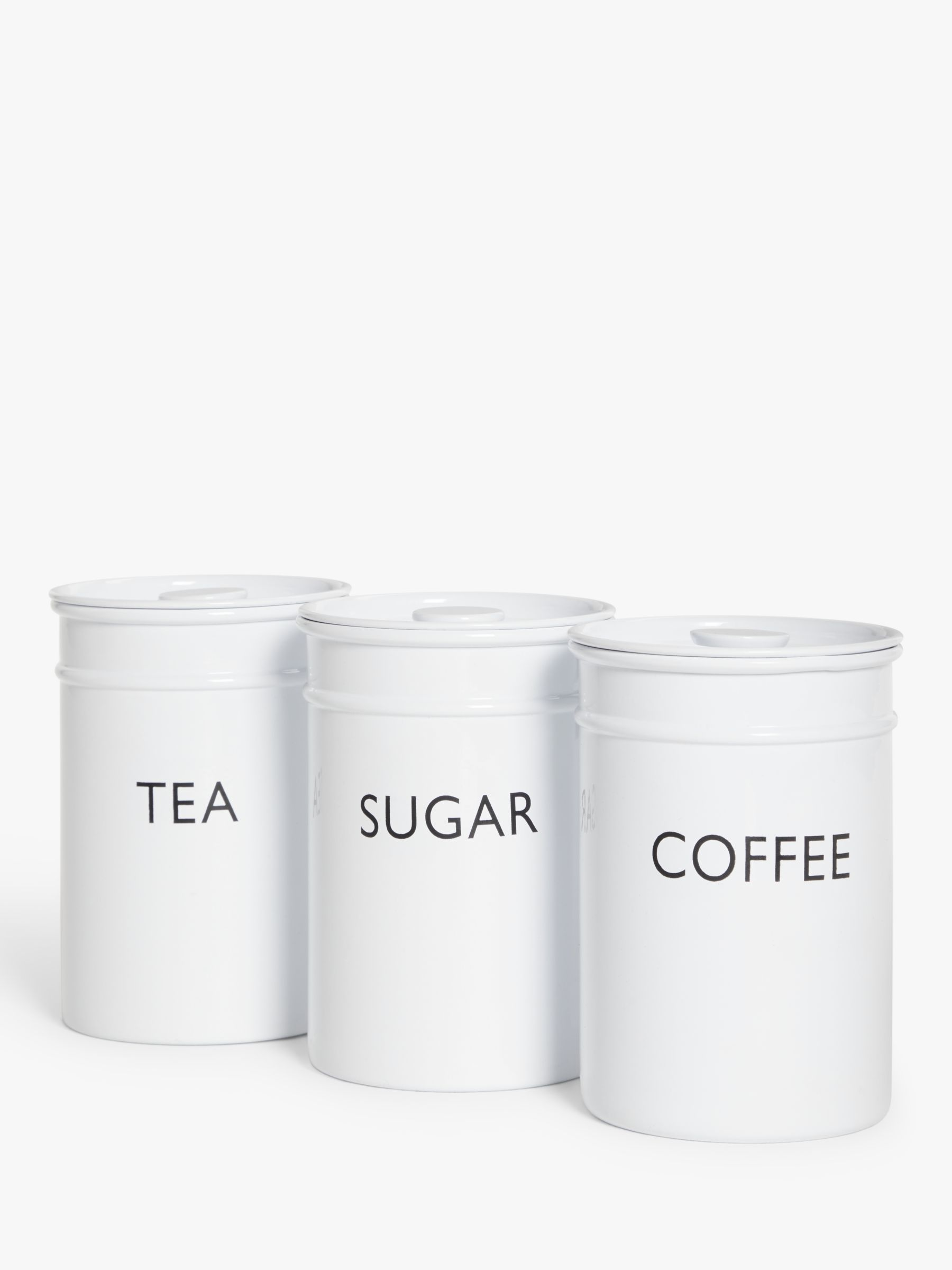 John Lewis Partners Kitchen Storage Canisters 1l Set Of 3 White