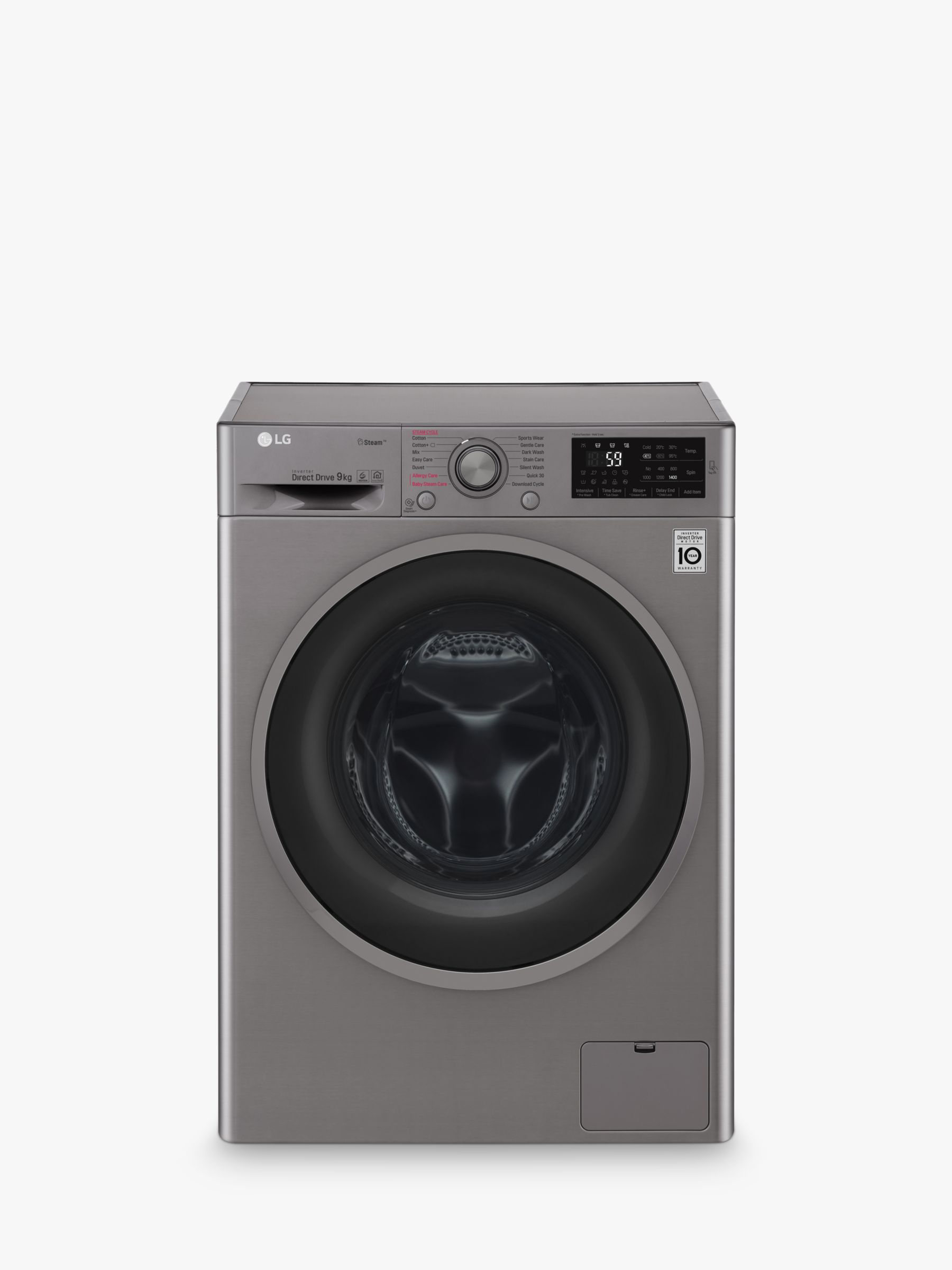 LG LG F4J609SS Freestanding Washing Machine, 9kg Load, A+++ Energy Rating, 1400rpm Spin, Graphite
