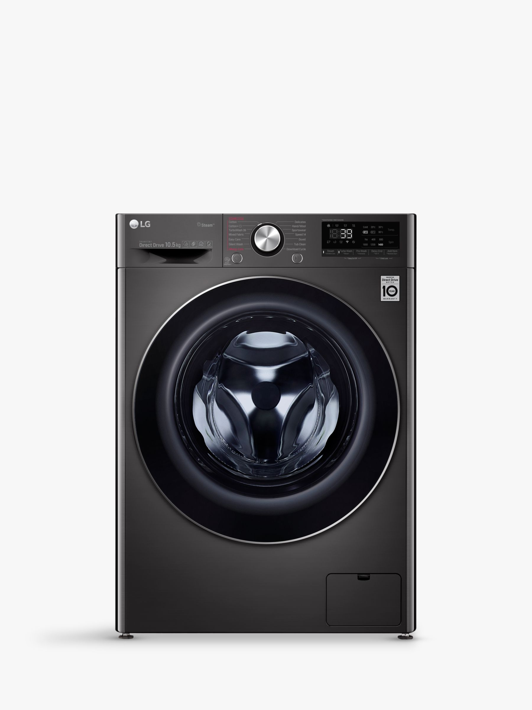 LG LG F4V910BTS Freestanding Washing Machine, 10kg Load, A+++ Energy Rating, 1400rpm Spin, Black