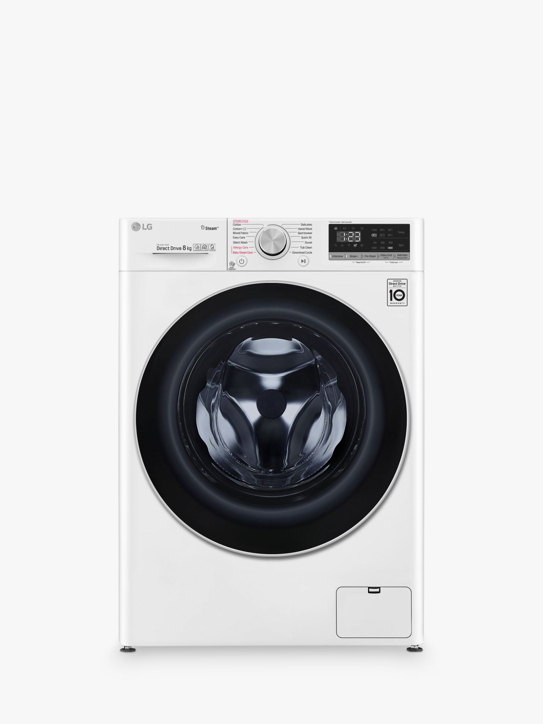 LG LG F4V508WS Freestanding Washing Machine, 8kg Load, A+++ Energy Rating, 1400rpm Spin, White