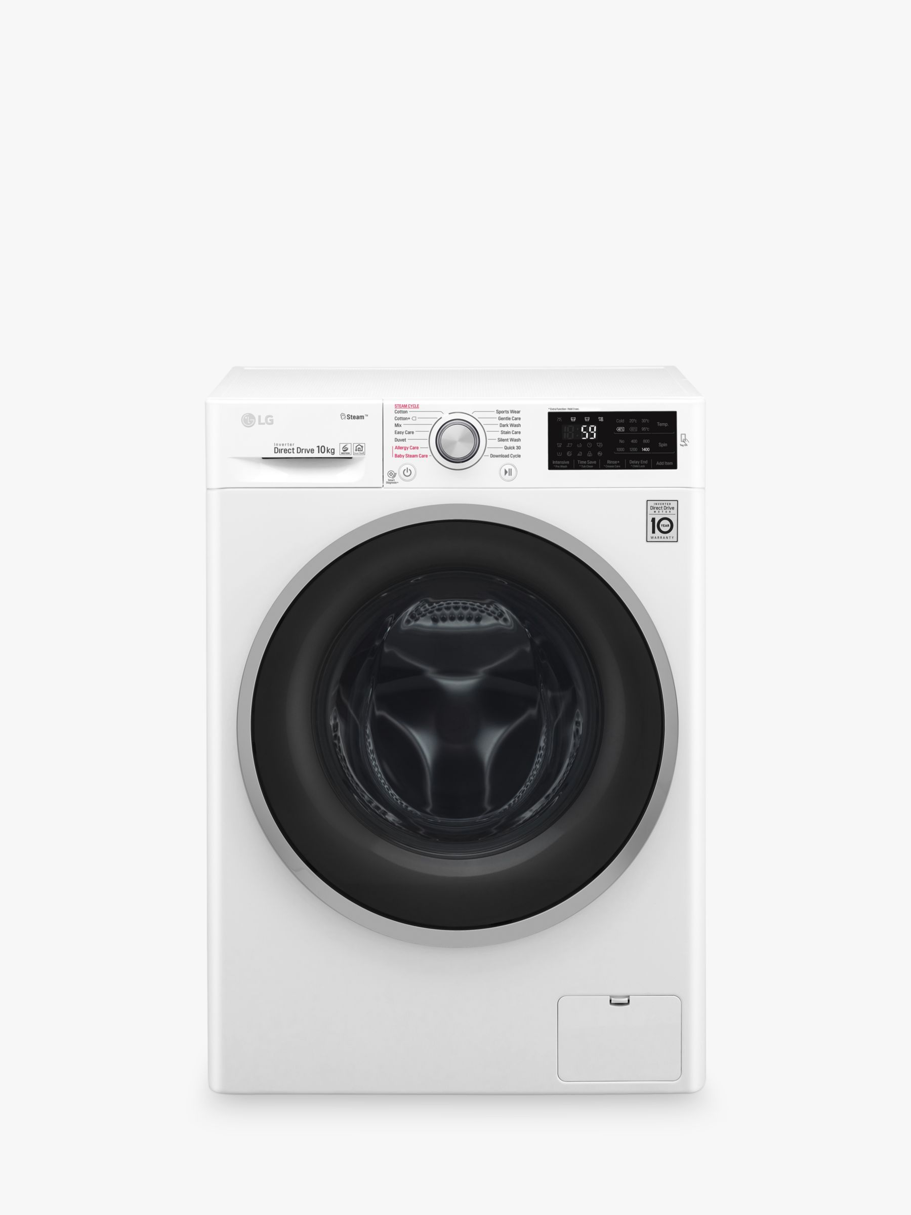 LG LG F4J610WS Freestanding Washing Machine, 10kg Load, A+++ Energy Rating, 1400rpm Spin, White