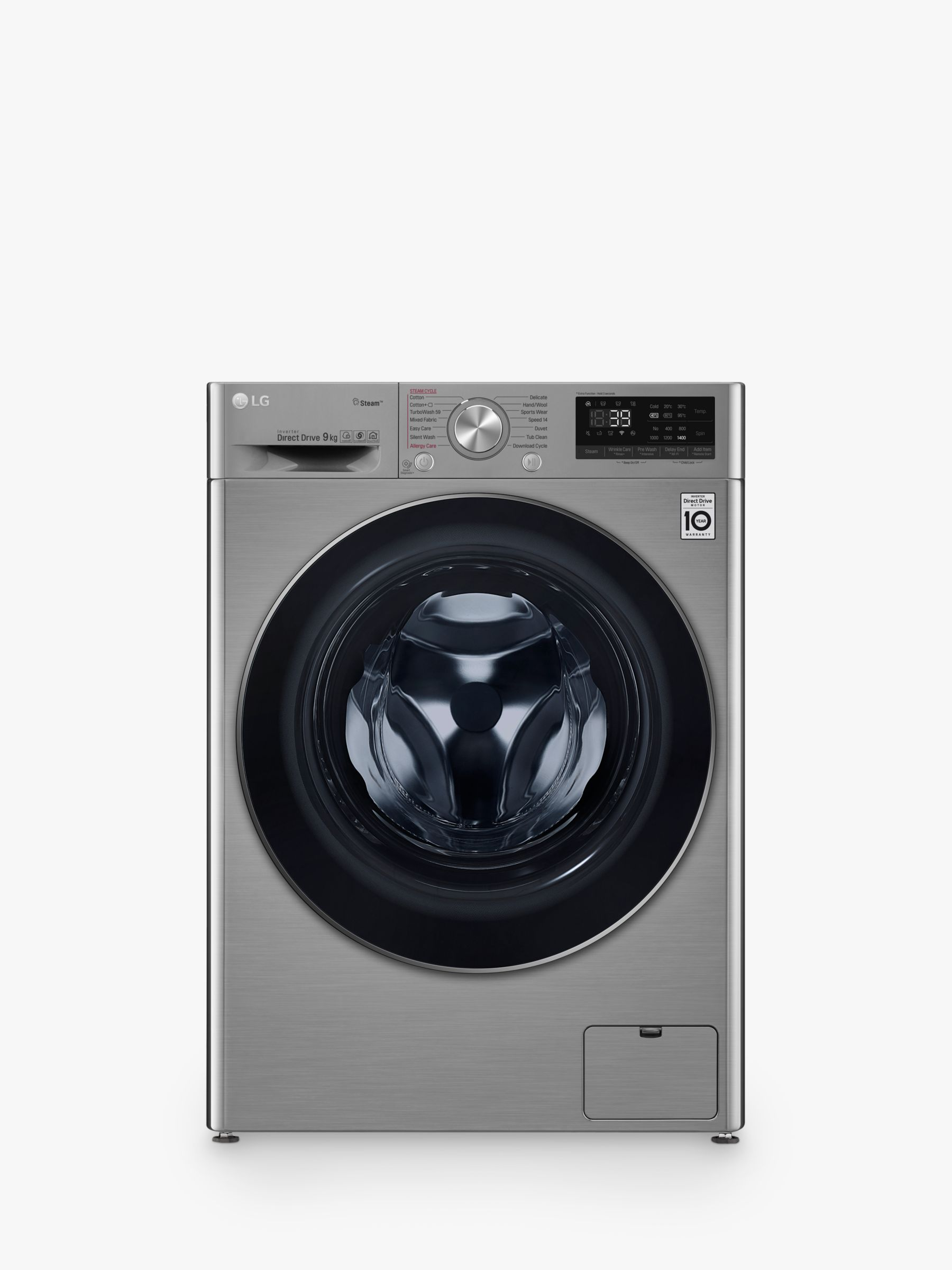 LG LG F4V709STS Freestanding Washing Machine, 9kg Load, A+++ Energy Rating, 1400rpm Spin, Graphite