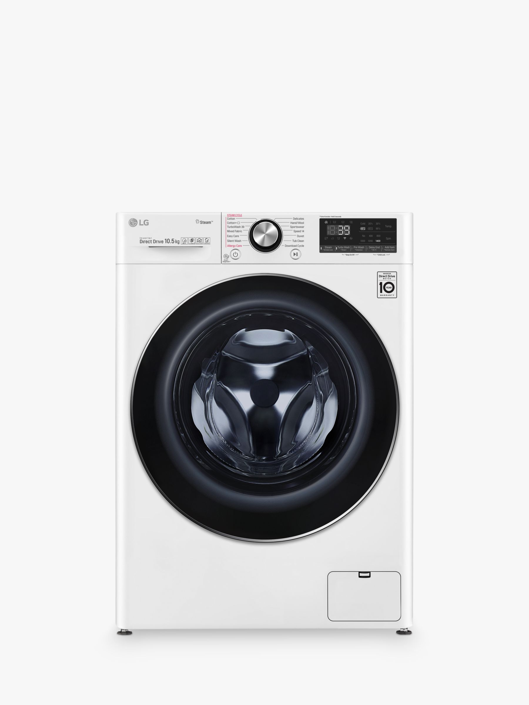 LG LG F4V910WTS Freestanding Washing Machine, 10kg Load, A+++ Energy Rating, 1400rpm Spin, White