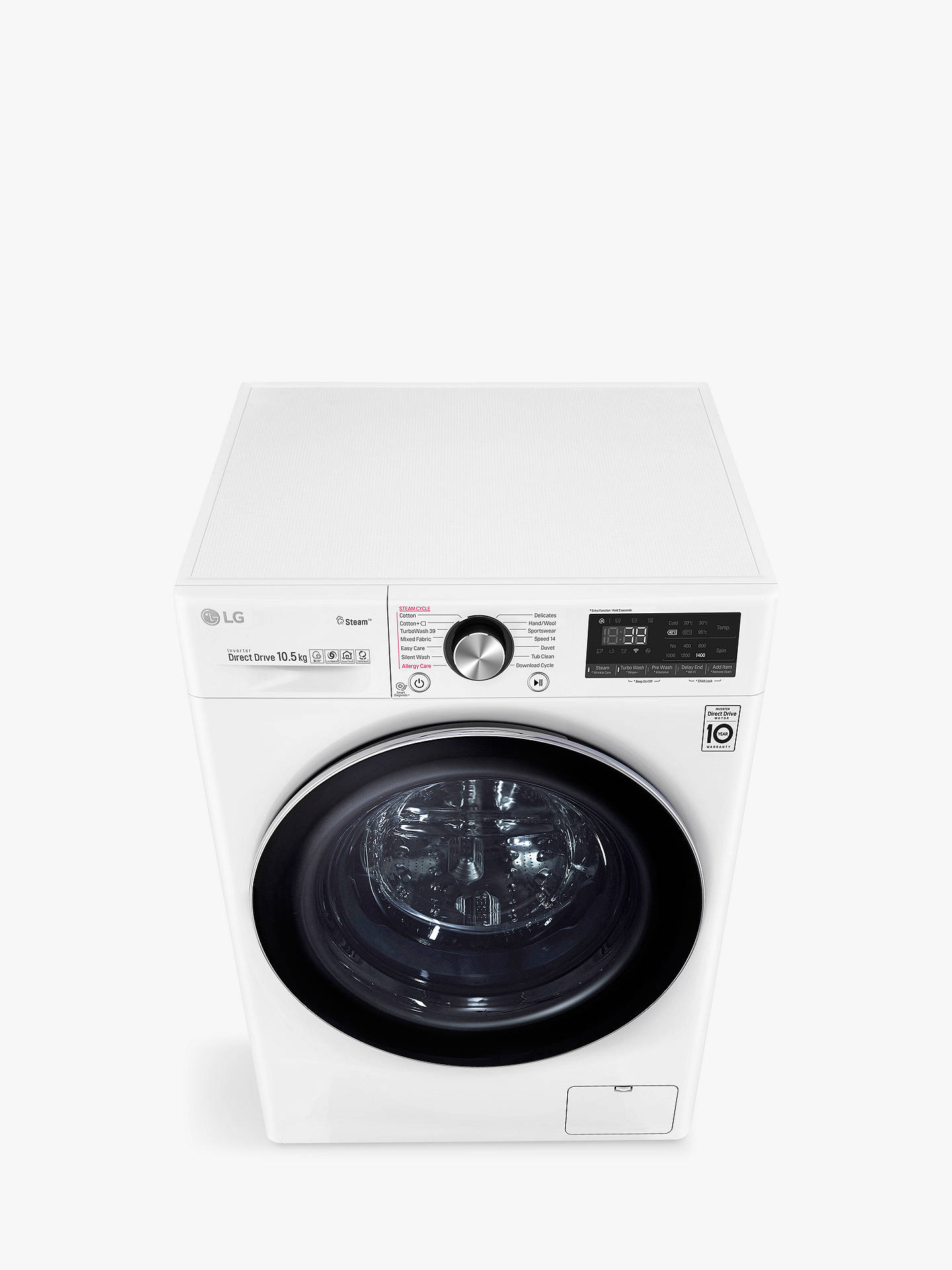LG F4V910WTS Freestanding Washing Machine, 10kg Load, A+++ Energy Rating,  1400rpm Spin, White