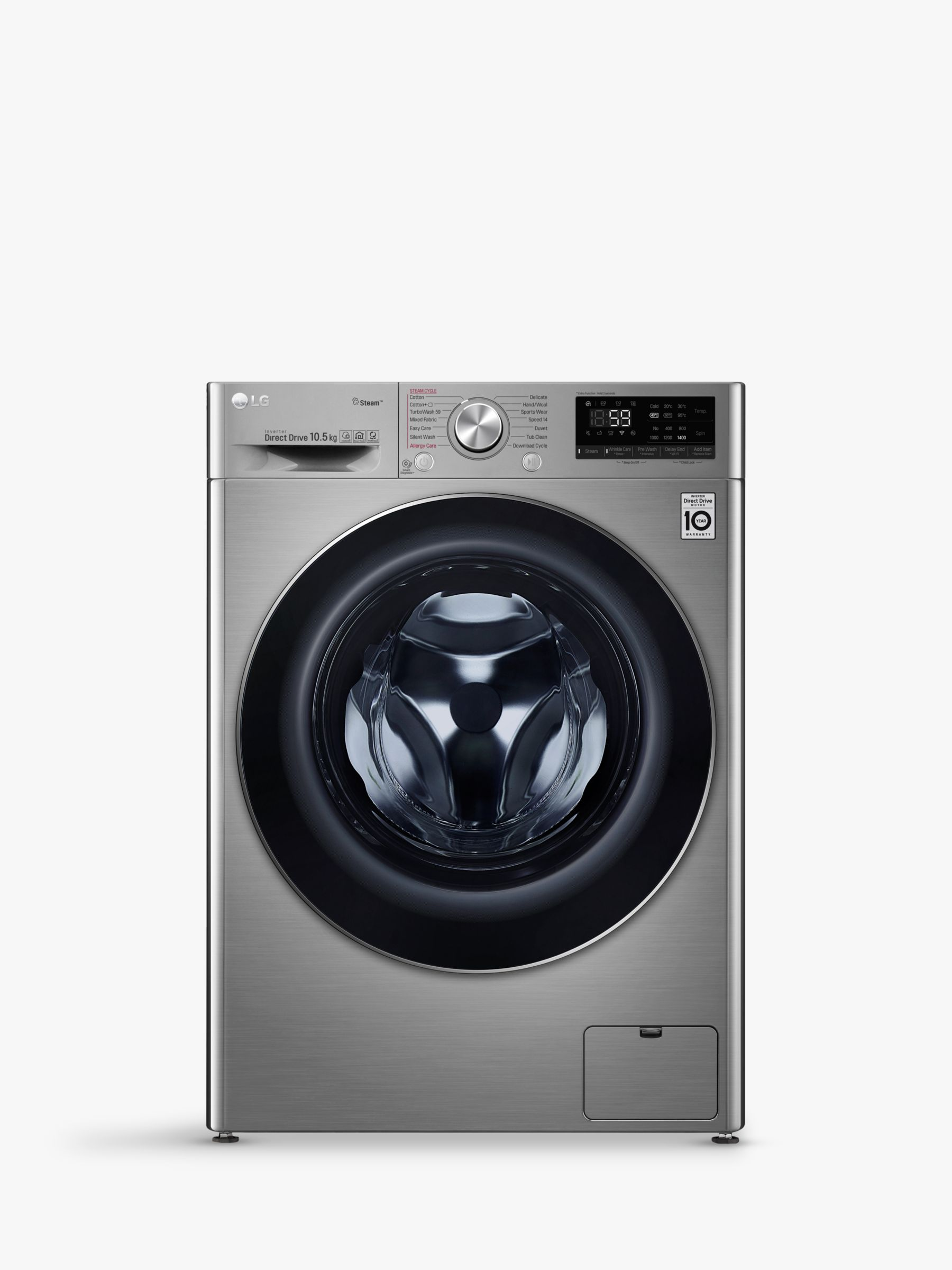 LG LG F4V710STS Freestanding Washing Machine, 10.5kg Load, A+++ Energy Rating, 1400rpm Spin, Graphite