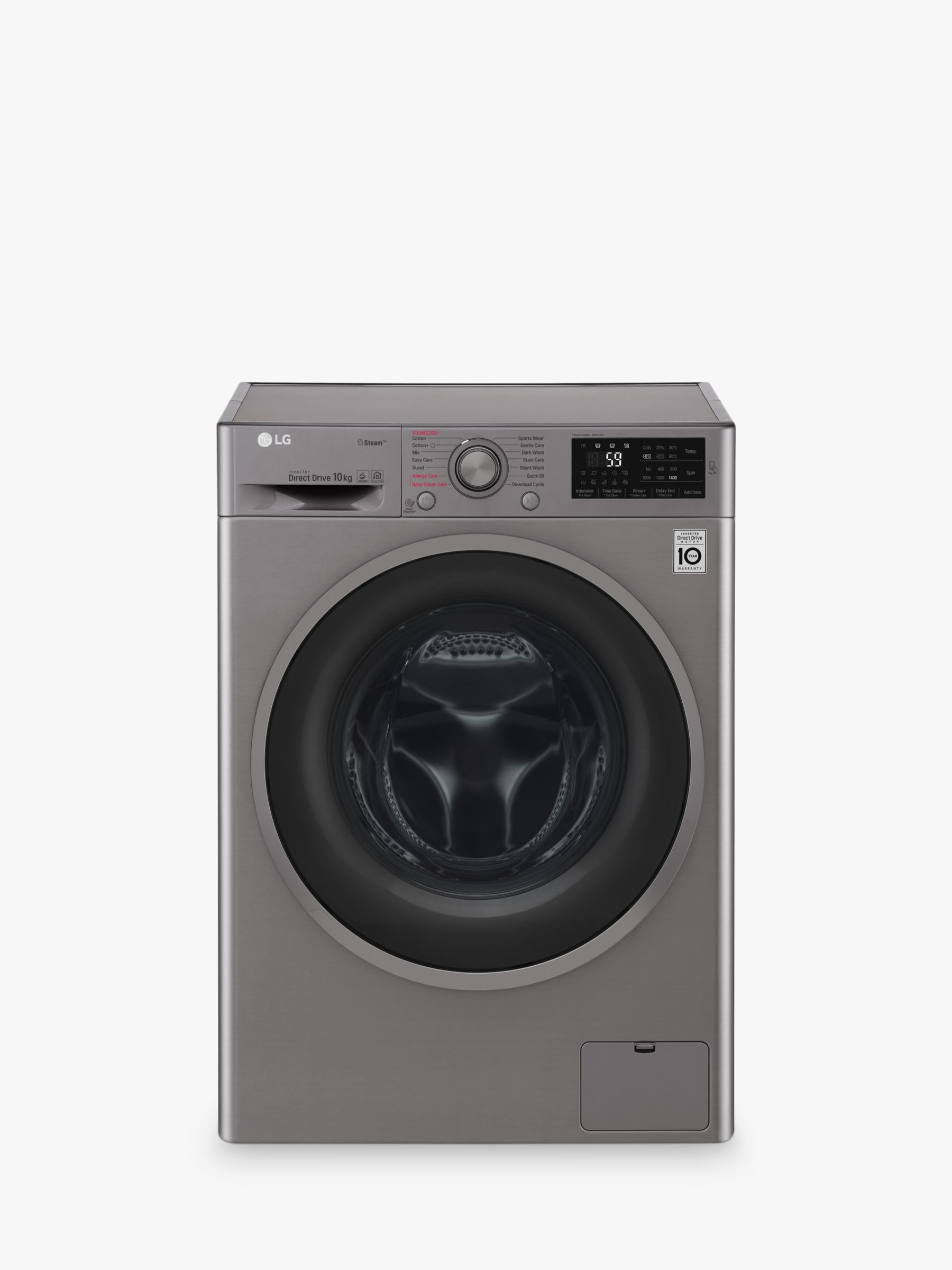 LG LG F4J610SS Freestanding Washing Machine, 10kg Load, A+++ Energy Rating, 1400rpm Spin, Graphite