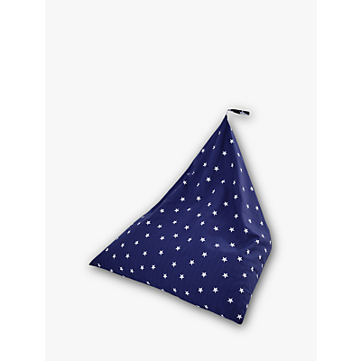 Great Little Trading Co Pyramid Bean Bag Chair, Navy Stardust