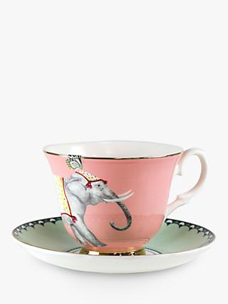 Yvonne Ellen Elephant Tea Cup and Saucer, 280ml, Pink/Multi
