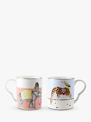Yvonne Ellen Giraffe/Elephant Mugs, Set of 2, 360ml, Multi