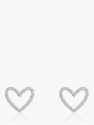 Joma Jewellery Evie Crystal Heart Stud Earrings, Silver