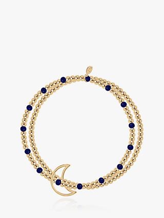Joma Jewellery Beaded Lapis Lazuli Crescent Moon Bracelet, Gold