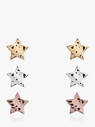 Joma Jewellery Florence Star Stud Earrings, Pack of 3, Multi