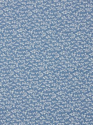 Oddies Textiles Small White Vine Stamp Fabric, Blue