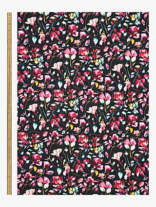 Oddies Textiles Bright Watercolour Flowers Print Fabric, Black