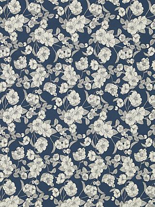 Oddies Textiles Black Line Floral Print Fabric, Teal