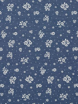 Oddies Textiles White Floral Stamp Print Fabric, Navy