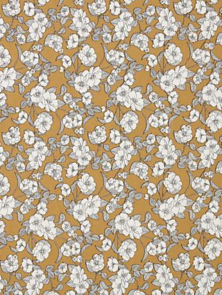 Oddies Textiles Line Drawn Flower Fabric, Ochre