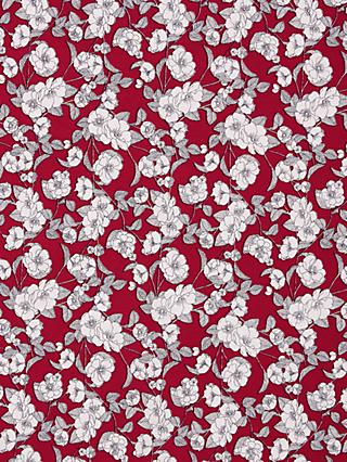 Oddies Textiles Line Drawn Flowers Print Fabric, Red