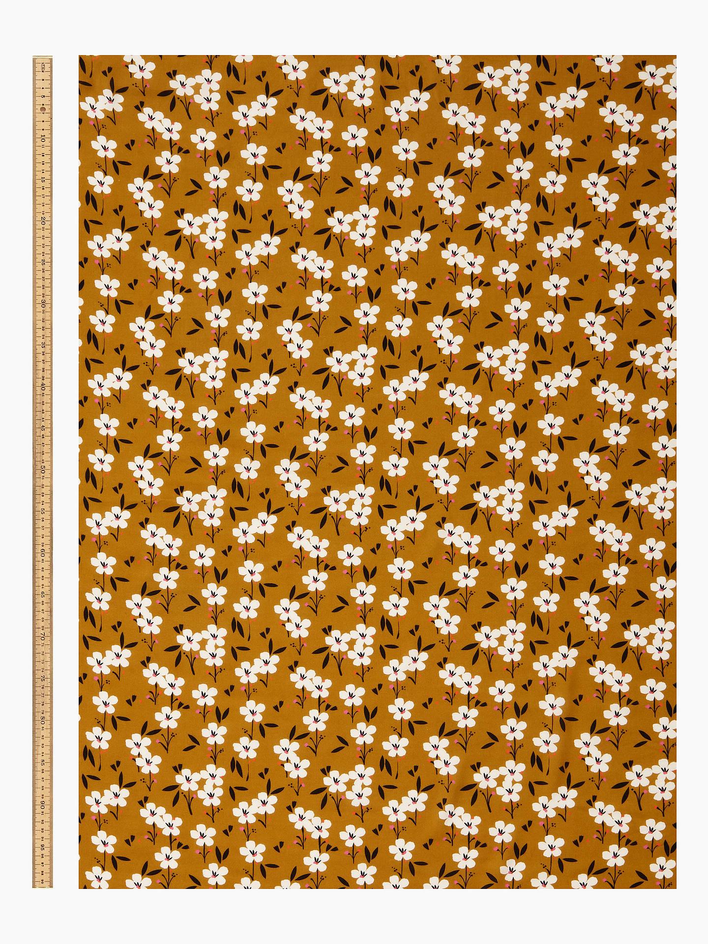 Dashwood Studio White Daisies Print Fabric, Mustard