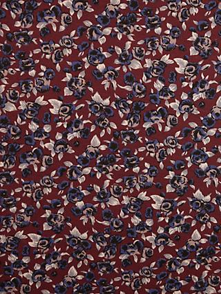 Montreux Fabrics Exclusive Mini Blue Roses Print Fabric, Burgundy