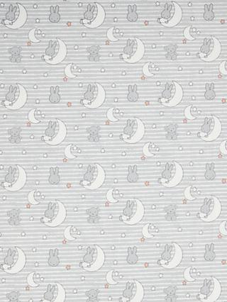 Visage Textiles Miffy Moon Stripe Print Cotton Fabric, Grey