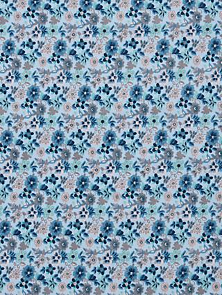 Viscount Textiles Pansy Print Babycord Fabric, Light Blue