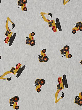 Quality Textiles Tractor Print Fleece Fabric, Grey