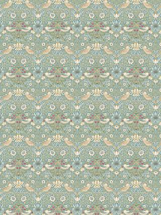 Morris & Co. Mini Strawberry Thief Print Fabric, Aqua