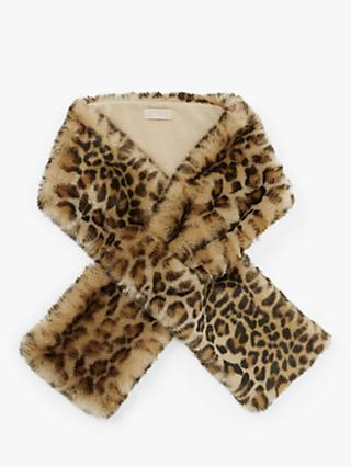 Unmade Animal Print Faux Fur Scarf, Chocolate