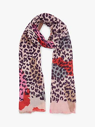 Unmade Elora Leopard Print Cotton Scarf, Shocking Pink/Multi