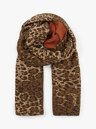 Unmade Lyssa Leopard Print Scarf, Rust/Brown