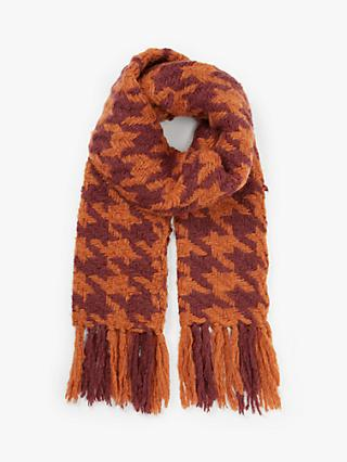 Unmade Candiss Houndstooth Tassel Scarf, Orange/Rust