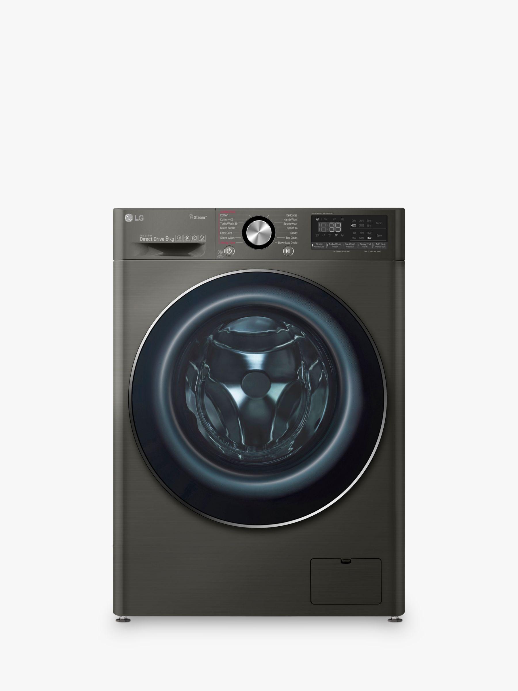LG LG F4V909BTS Freestanding Washing Machine, 9kg Load, A+++ Energy Rating, 1400rpm Spin, Black