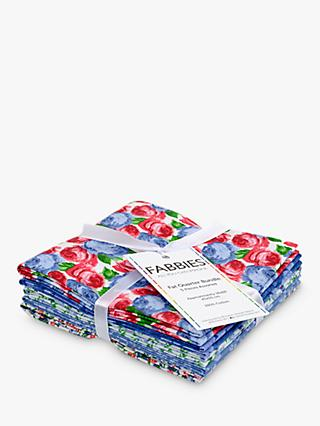 Fabric Editions Traditional Rose Fat Quarter Fabrics, Pack of 5, Blue