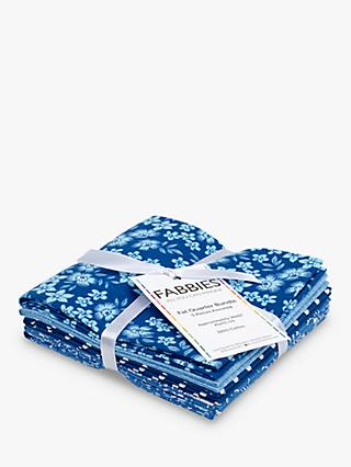 Fabric Editions Afina Flower Print Fat Quarter Fabrics, Pack of 5, Dark Blue